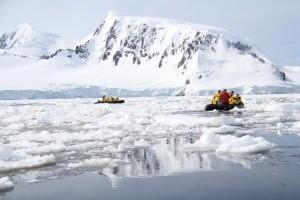 Exploring the Antarctic islands in a boat