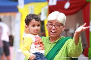 Senior entrepreneur Sabiha Hashmi enjoys the day