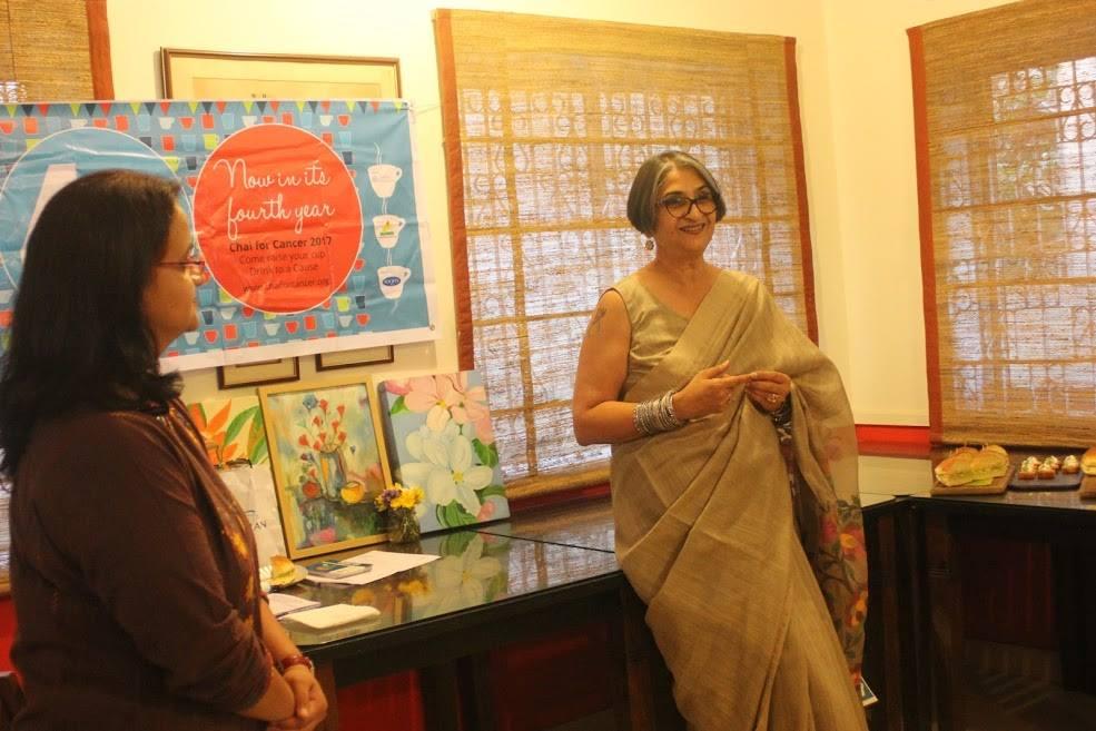 Viji Venkatesh speaking up at the Chai for Cancer Adda  Event