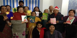 Making Christmas cards for the grandkids at Samvedna