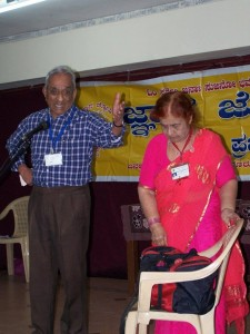 The enthusiastic Laxman couple, also members of the group, perform a skit during a fuction