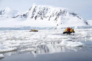Exploring the Antarctic islands in a boat