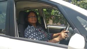 Jaya Dasgupta in her Nano.
