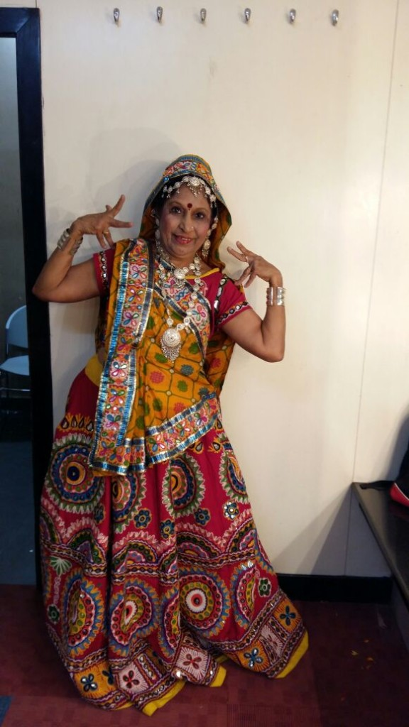 Navanita Parmar getting ready to step on stage