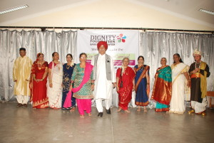 Shyam Sunder Sharma dressed as a Sardar with other ramp models