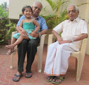 Thiagarajan, 97 (left) with Son Subramanian, 69 and Great Grand Daughter Avni 2.5