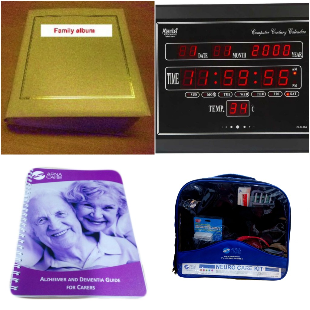 A collage of products in the Alzheimer's & Dementia Care Kit from ApnaCare