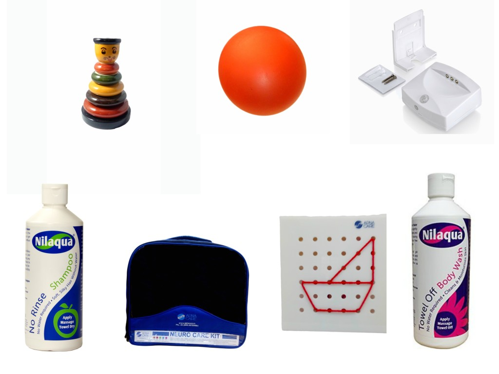 A collage of products in the Alzheimer's & Dementia Care Kit by ApnaCare