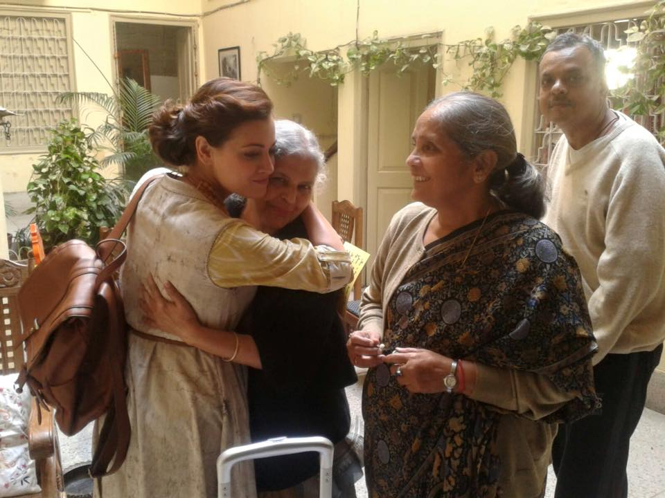 The grannies with actress Diya Mirza during a shoot for a travel series. Photograph courtesy: https://www.facebook.com/grannysinn