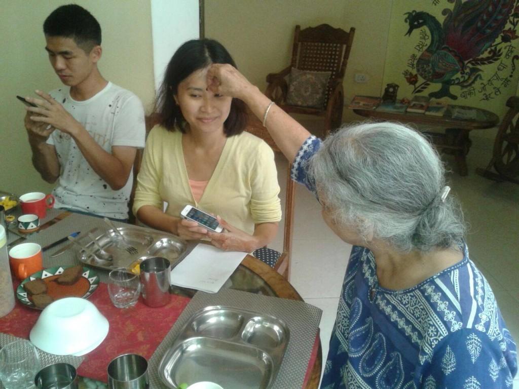 Granny Asha pampering a guest. https://www.facebook.com/grannysinn